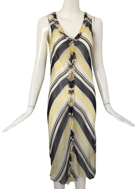 Item - Black/ Yellow/ Why Printed Silk Ruffle Trim Mid-length Short Casual Dress Size 6 (S)