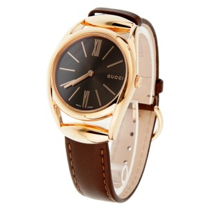 Gucci Gucci Womens Rose Gold Tone Watch With Brown Leather Strap