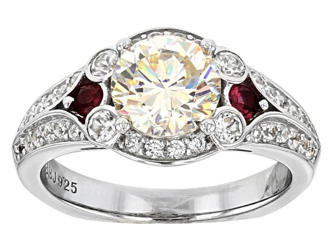 Item - White Red Thorsonite Spinel and Zircon Sterling Silver 3.02cttw Ring