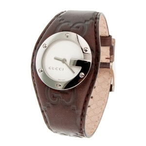 Gucci Gucci Womens G Bandeau Brown Leather Strap Watch