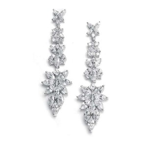 Mariell Silver Marquis Cluster Cz Earrings