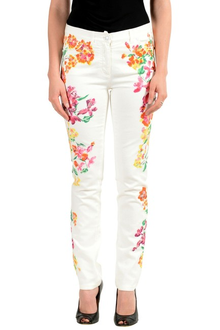 Item - Multi-color Women's Off White Coated Floral Print Five Pocket Straight Leg Jeans Size 24 (0, XS)