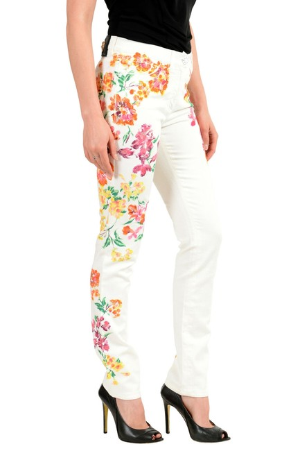 Versace Multi-color Women's Off White Coated Floral Print Five Pocket Straight Leg Jeans Size 24 (0, XS) Versace Multi-color Women's Off White Coated Floral Print Five Pocket Straight Leg Jeans Size 24 (0, XS) Image 2