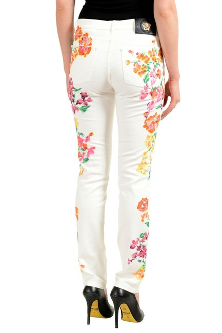 Versace Multi-color Women's Off White Coated Floral Print Five Pocket Straight Leg Jeans Size 24 (0, XS) Versace Multi-color Women's Off White Coated Floral Print Five Pocket Straight Leg Jeans Size 24 (0, XS) Image 3