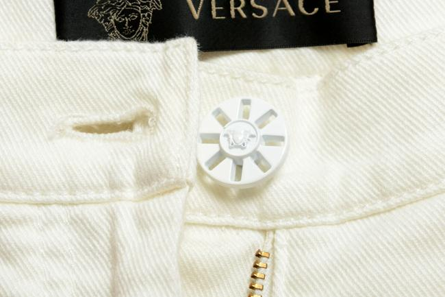 Versace Multi-color Women's Off White Coated Floral Print Five Pocket Straight Leg Jeans Size 24 (0, XS) Versace Multi-color Women's Off White Coated Floral Print Five Pocket Straight Leg Jeans Size 24 (0, XS) Image 4