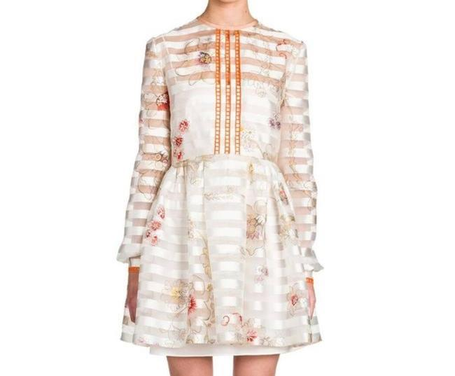 Item - Ivory Bambolina Stripped Floral Short Casual Dress Size 4 (S)