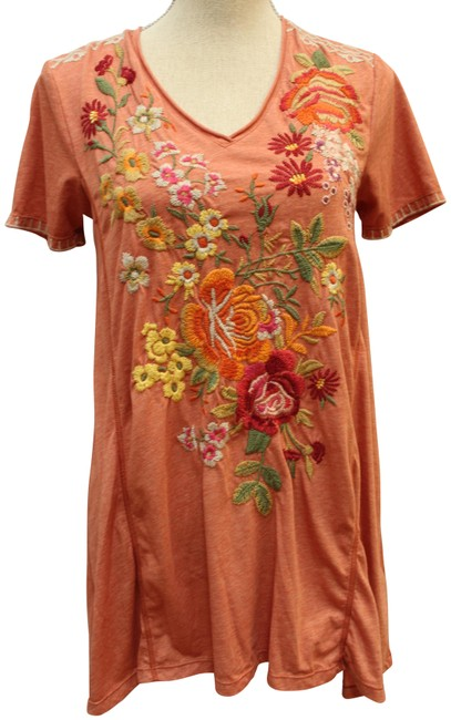 Item - Rust Brown Kalotta Draped Embroidered Blouse Tunic Size 6 (S)