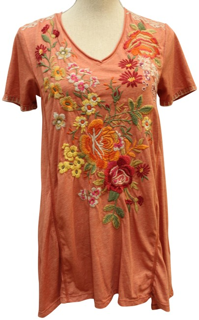 Item - Rust Brown Kalotta Draped Embroidered Blouse Tunic Size 2 (XS)