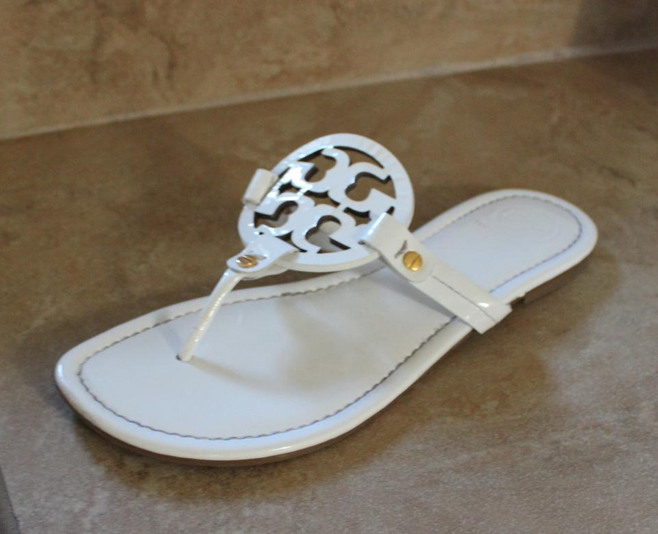 4007a34ff9443 Tory Burch Patent Patent Leather Thong Slingback Leather Flat Logo Monogram  Reva Miller White Sandals Image ...