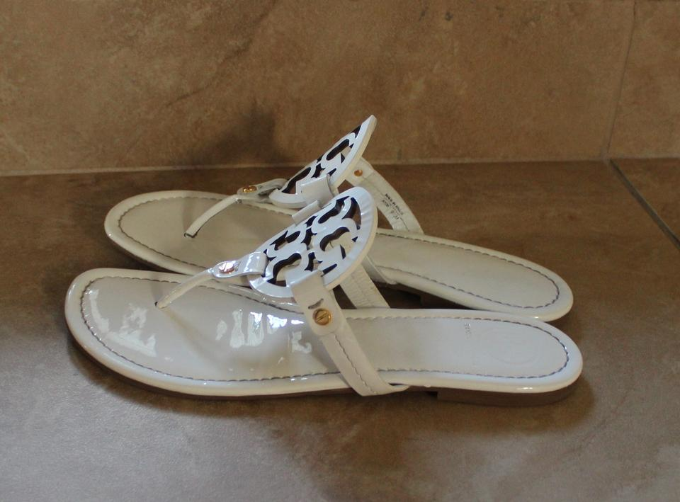 a32ce3310c0b0 Tory Burch Patent Patent Leather Thong Slingback Leather Flat Logo Monogram  Reva Miller White Sandals Image. 1234567