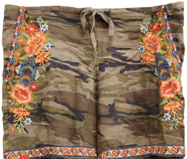 Item - Khaki/Green Embroidered Sentrie Camouflage Linen Shorts Size 14 (L, 34)