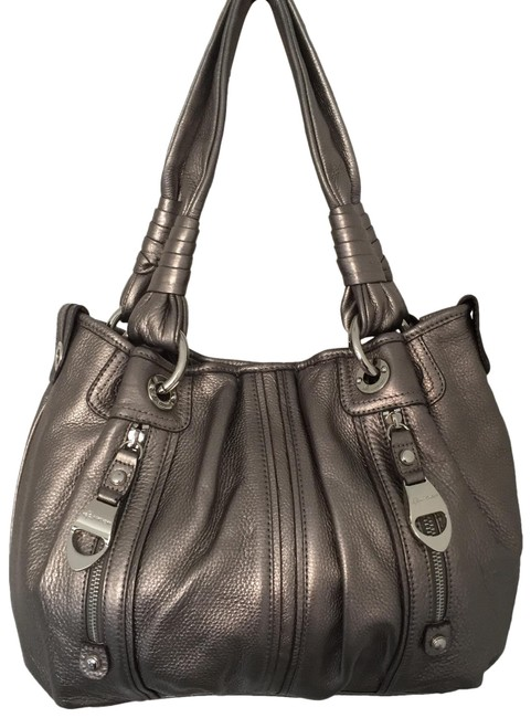 Item - Front Pocket Triple Compartments Silver Leather Hobo Bag