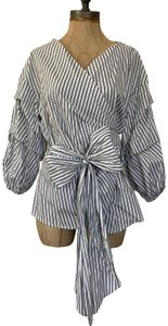 Fever Cotton Casual Weekend Wear Bow Top Black & White Stripes