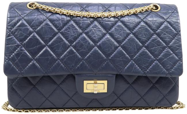 Chanel 2.55 Reissue Classic Flap 2.27 Double Navy Black Calfskin Shoulder Bag Chanel 2.55 Reissue Classic Flap 2.27 Double Navy Black Calfskin Shoulder Bag Image 1
