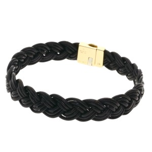 Gucci Gucci Braided Bracelet K18 Yellow Gold Leather Ladies GUCCI