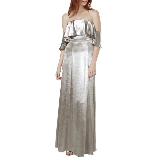 Fame and Partners Silver Metallic Ruffled Evening Formal Dress Size 0 (XS) Fame and Partners Silver Metallic Ruffled Evening Formal Dress Size 0 (XS) Image 1