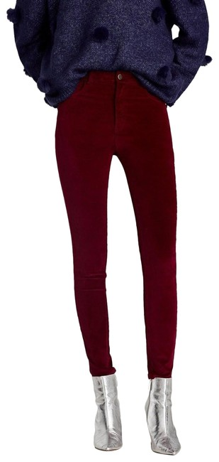Item - Red High Waist 5-pocket Velvet Pants New. Jeggings Size 4 (S, 27)