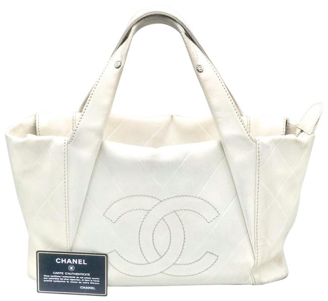 Item - Tote Bag Quilted Cc Logo Bowler Boston White All Day Long Shopper Calfskin Leather Caviar Satchel