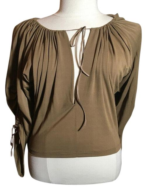Item - Brown Jersey Gathered Sleeves Blouse Size 6 (S)