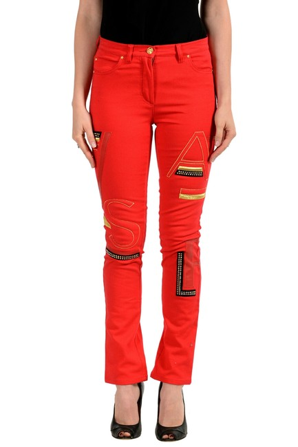 Item - Red Women's Bright Embellished Five Pocket Skinny Jeans Size 24 (0, XS)