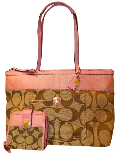 Item - Guc Pink Signature Stripe & Matching Wallet Set Khaki-brown-pink-gold Jacquard Canvas / Leather Tote