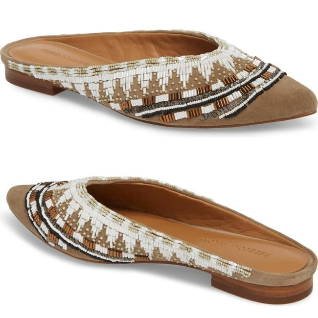 Item - Tan White Roxane Beaded Pointed Toe Mule Flats Size US 6.5 Regular (M, B)