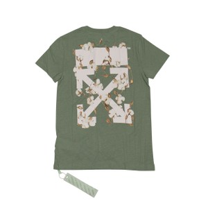 Off-White™ Cotton Summer Logo Graphic Floral T Shirt Green