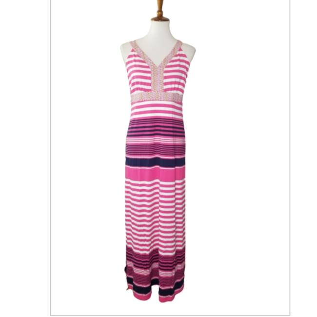 Item - Pink & White Striped Long Casual Maxi Dress Size 8 (M)