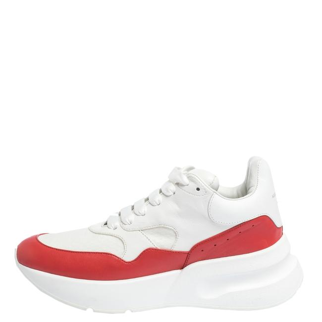 Item - White White/Red Leather and Mesh Oversized Runner Low Top Sneakers Size US 10.5 Regular (M, B)