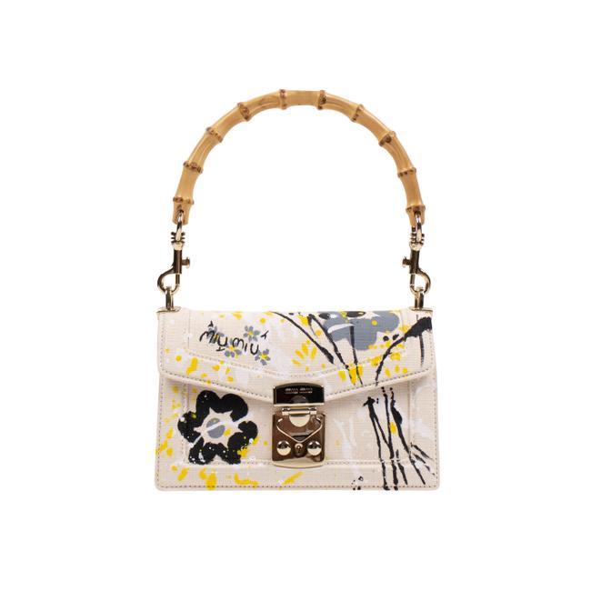 Item - Canvas Yellow Floral Printed Bamboo Top Handle White Cotton Shoulder Bag