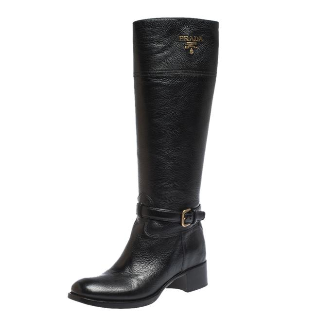 Item - Black Leather Knee Length Buckle Strap Boots/Booties Size US 10 Regular (M, B)