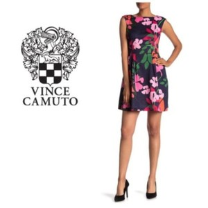 Vince Camuto Scuba Fit & Flare Floral Sleeveless Pockets Dress