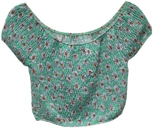 B*Envied Floral Stretchy Top Green