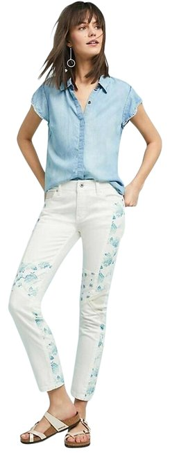 Item - New White Light Wash Pilcro Mid-rise Slim Straight Cropped Skinny Jeans Size 27 (4, S)