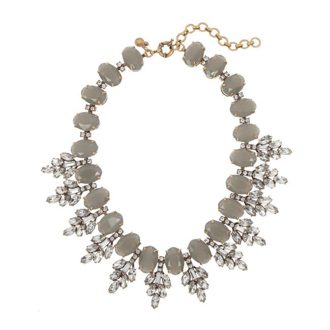 Item - Gray Leaves Crystal Statement Necklace