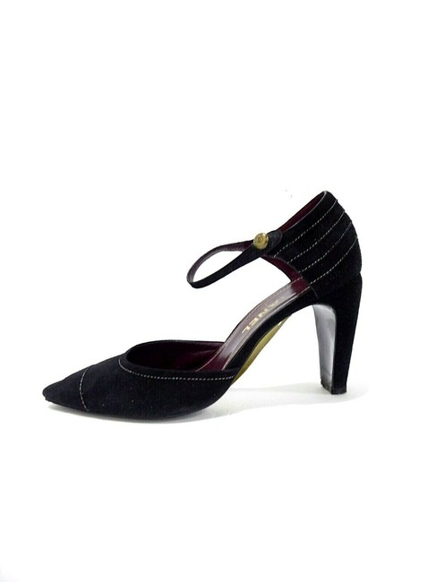 Item - Black W Suede Maryjane Heels W/Cc Logo Button 7 Pumps Size EU 37.5 (Approx. US 7.5) Regular (M, B)