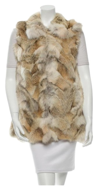 Item - Brown Beige and White Coyote Fur Vest Size 6 (S)