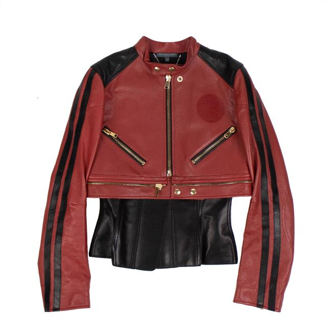 Item - Red and Black Peplum Biker Jacket Size 4 (S)