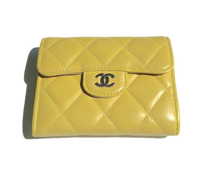 Item - Yellow Lambskin Quilted Flap Card Holder Wallet