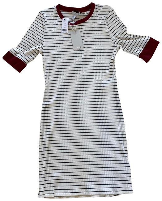 Item - Cream Striped Maroon Tralena Large Mid-length Short Casual Dress Size 12 (L)