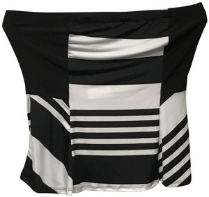 B*Envied Sleeveless Stretchy Striped Vintage Art Deco Top Black and White