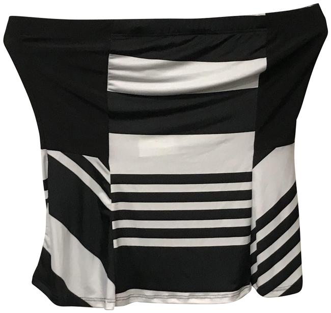 Item - Art Deco Striped Crop Black and White Top