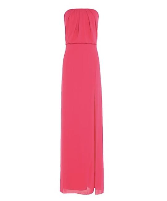 Item - Pink Crepe Heritage Woman Strapless Gathered Washed-crepe Gown Bright Pin Formal Bridesmaid/Mob Dress Size 0 (XS)