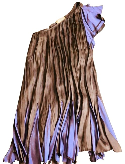 Item - Brown and Purple One Shoulder Tunic Mid-length Night Out Dress Size 00 (XXS)
