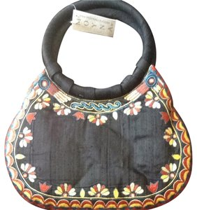 Anthropologie Handcrafted Embroidered Silk Tote in Black