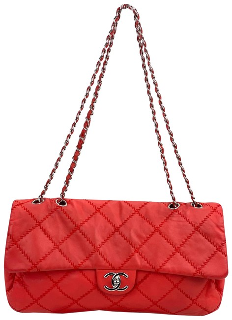 Item - Classic Flap Quilted Ultimate Stitch Large B193 Red Coral Orange Lambskin Leather Shoulder Bag