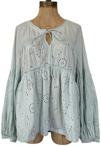 Susina Eyelet Peasant Cotton Top Mint