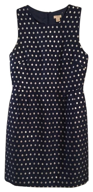 Item - Navy and Silver Sparkle Dot Mid-length Short Casual Dress Size 2 (XS)