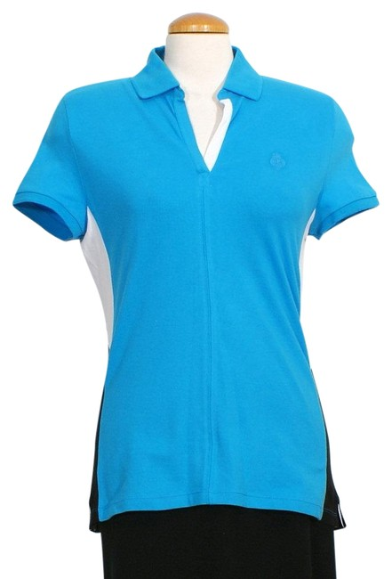 Item - Turquoise Blue Black White Colorblock Stretch Cotton Pique Crest Polo M Blouse Size 10 (M)