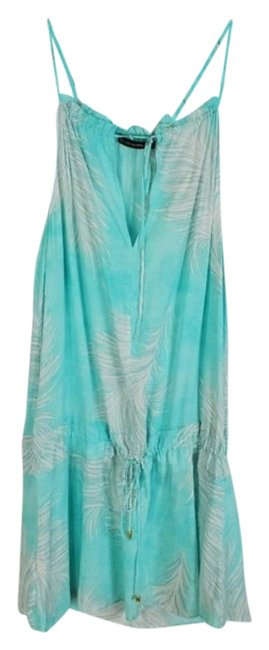Item - Teal White Feather Print Rayon Dress Cover-up/Sarong Size 8 (M)